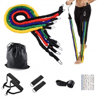 PREMIUM RESISTANCE FITNESS LATEX TUBES WITH SLEEVES 11 pcs