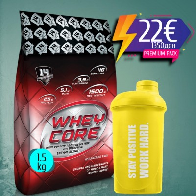 WHEY CORE 1500g + Olimp Shaker 500ml
