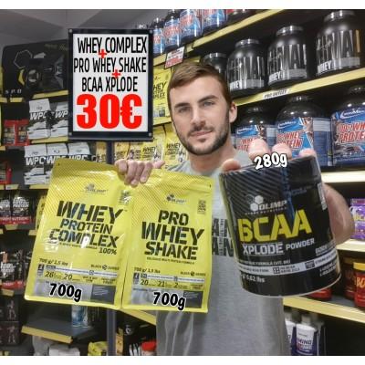100% WHEY Protein Complex 700g + Pro WHEY Shake 700g + BCAA Xplode 280g